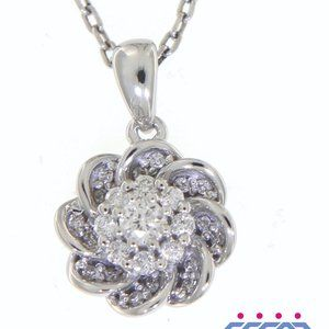 Cluster Diamond Floral Shaped Pendant White Gold